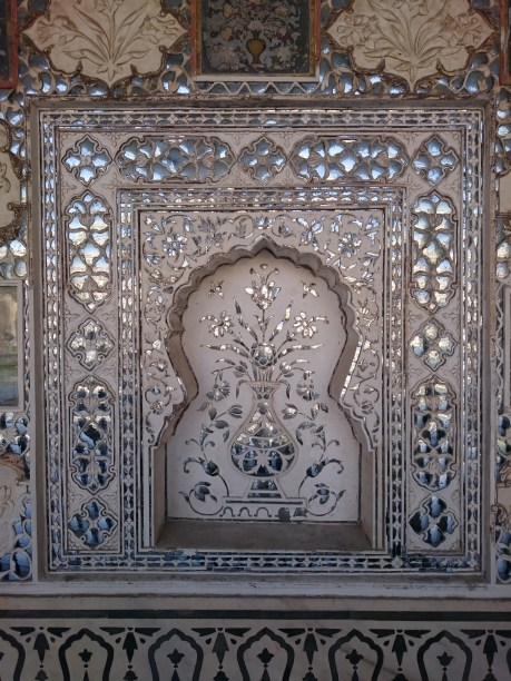 Mirror work detail in the Sheesh Mahal or Palace of Mirrors