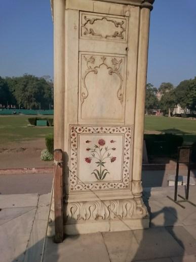 Pietra Dura work detail on marble column