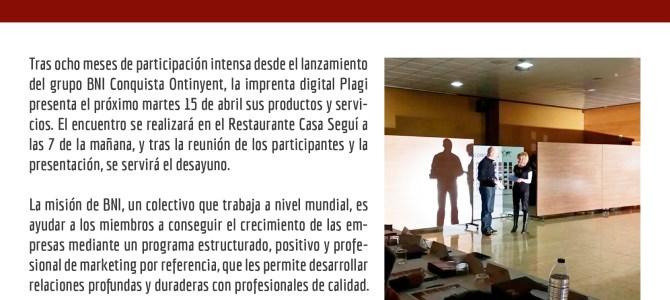 Plagi presenta sus productos y servicios en el Grupo BNI Conquista de Ontinyent