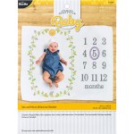 Shop Plaid Bucilla Baby Stamped Cross Stitch Milestone Blanket Sun And Moon 49190e 49190e Plaid Online