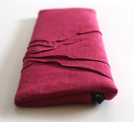 Raised line clutch - darkest pink