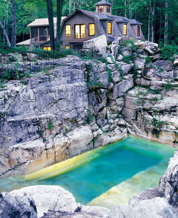 This Backyard Limestone Quarry Pool is a Picturesque Spot to