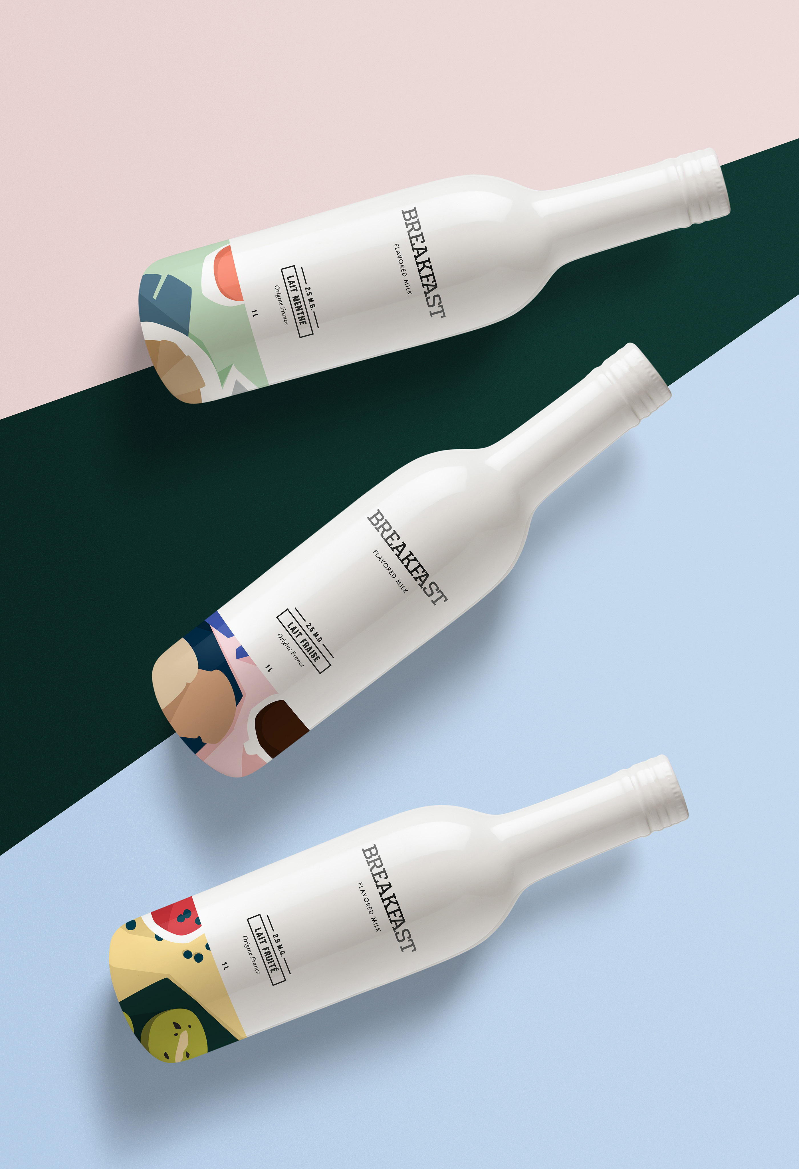 Bright Pops Of Color And Unique Look Of Breakfast A Concept Packaging For Flavoured Milk By Paris Based Graphic Designer And Art Director Aline Kpade