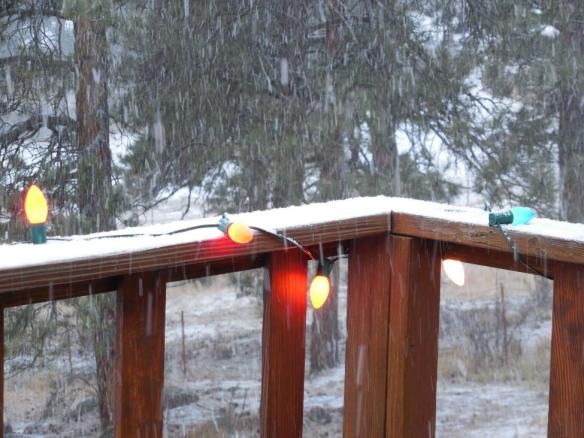 Deck Lights in the Snow