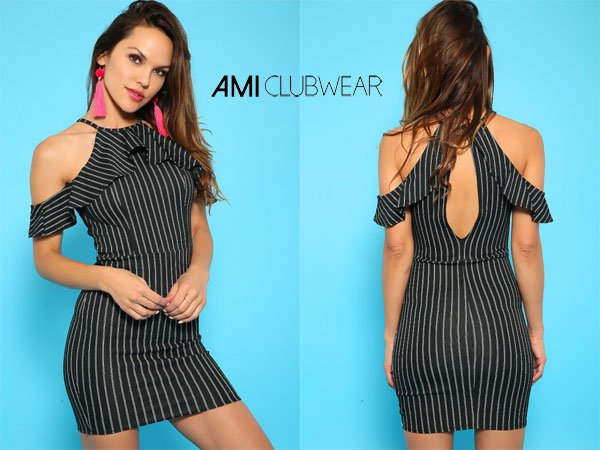 AmiclubwearSexy Black & White Stripe Short Sleeve Bodycon Party Dress