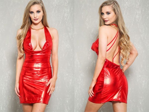 Amiclubwear Sexy Red Metallic Halter Strappy Bodycon Party Dress