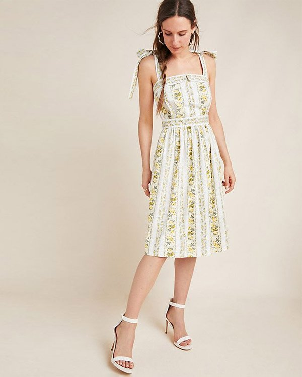 Anthropologie Bow-Tied Midi Dress for Special Occasion