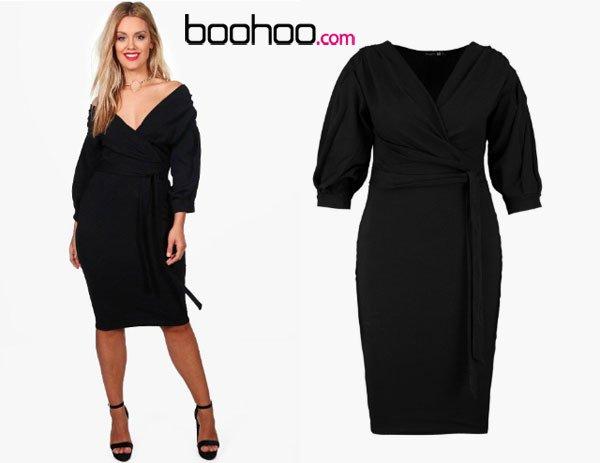 Boohoo Plus Taylor Off The Shoulder Wrap Midi Dress