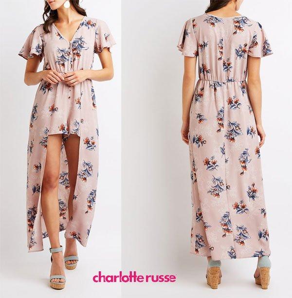 Charlotte Russe Floral Maxi Romper