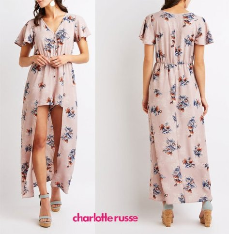 Charlotte Russe Floral Maxi Romper