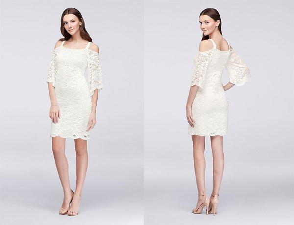 David's Bridal Cold-Shoulder Lace Sheath Dress