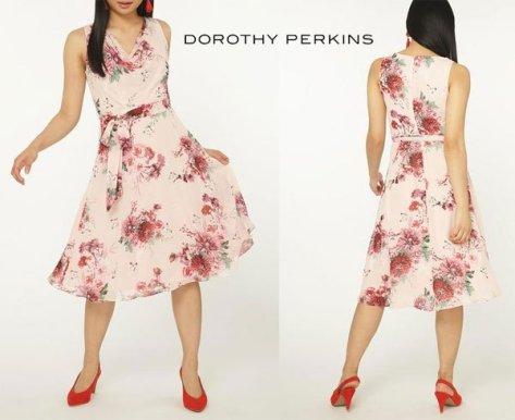 Dorothy Perkins Petite Blush Floral Print Midi Skater Dress