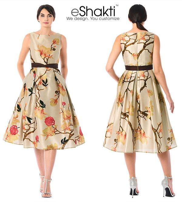 eShakti Floral Print Curved Pleat Waist Dupioni Dress