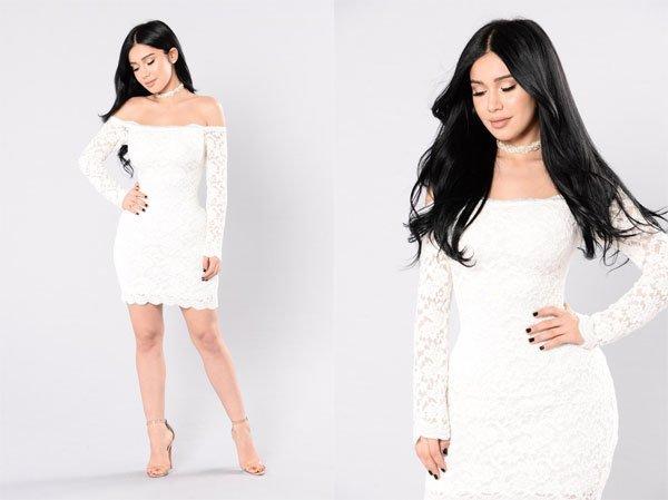 Fashion Nova Off Shoulder Lace Bodycon Dress