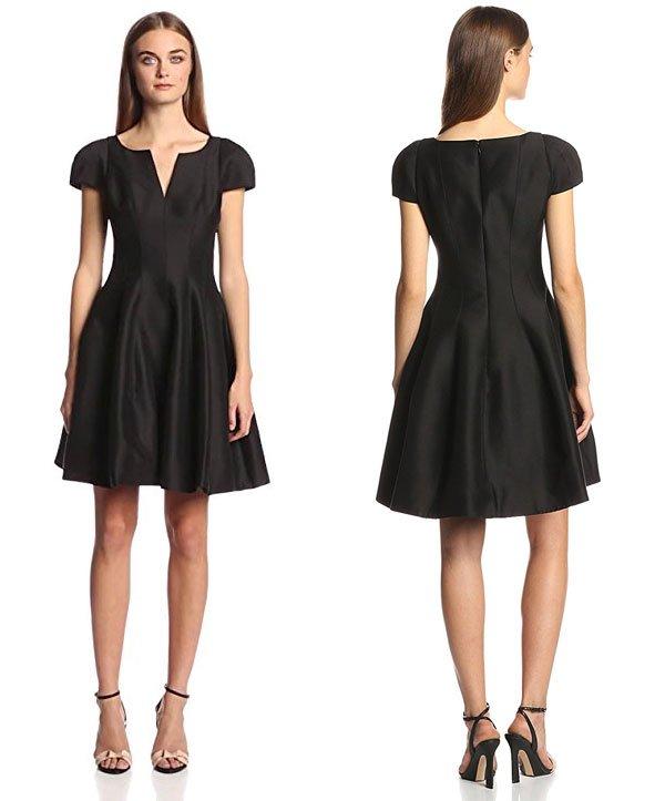 Halston Heritage Women's Short Sleeve Notch Neck Dress with Skirt