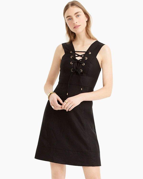 J. Crew Lace-Up, Elegant Black Mini Dress for Summer