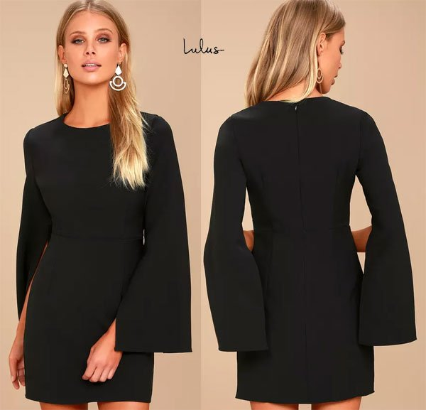 Lulus Hepburn Black Bell Sleeve Dress