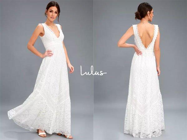 Lulus Melia White Lace Maxi Dress