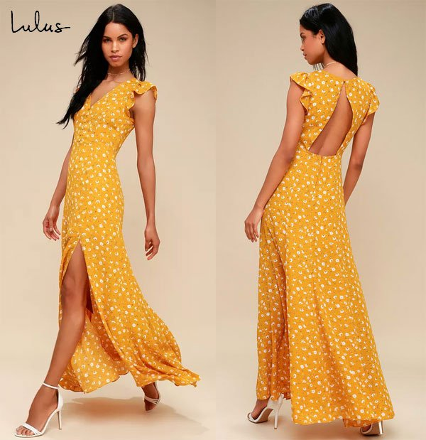 Lulus Mustard Yellow Floral Print Backless Maxi Dress