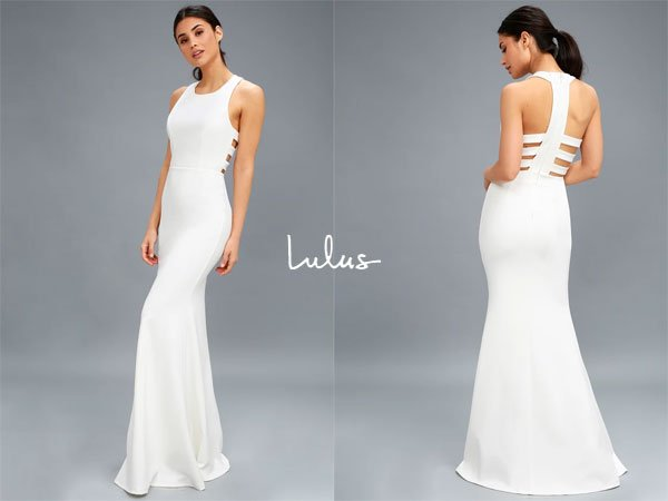 Lulus Power Of Wow White Backless Maxi Dress