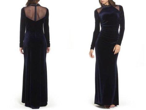 Nordstrom Mesh Panel Embellished Velvet Gown