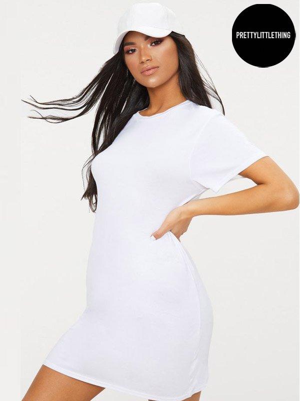 PrettyLittle Thing White Short Sleeve T Shirt Dress