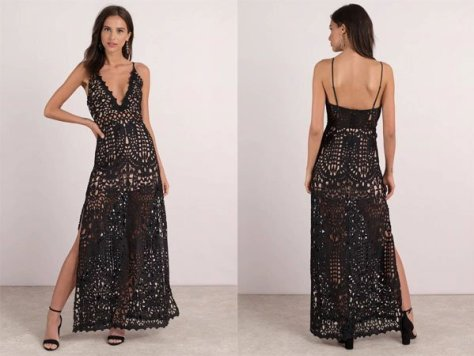 Tobi Wild Child Black Lace Maxi Dress