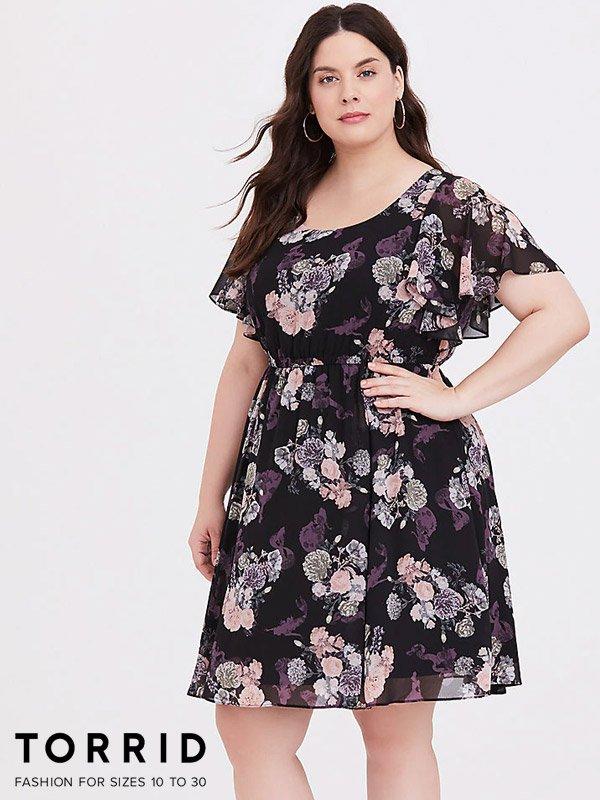 Torrid Plus Size Floral Chiffon Skater Dress