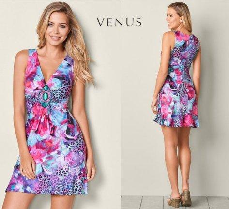 Venus Embellished Print Dress