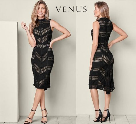 Venus Black Lace Detail Dress