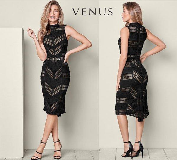 Venus Black Lace Detail Dress