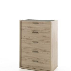 Commode haute ELENA chêne artisanal/marbre gris