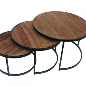 Table basse Lennox set de 3H 45/38/30 x L 70/60/50 x P 70/60/50 cmStructure métal