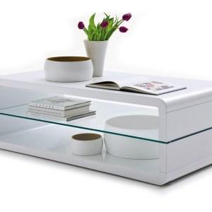 Table de salon Lewis avec plateau en verre Lacqué blancH 43 x L 120 x P 60 cm