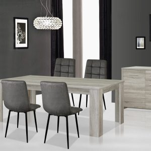 ENZO Salle à Manger ( Vitrine + Bahut + Table )