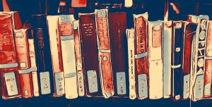 Clip art of books on shelf