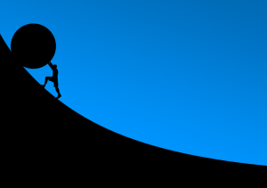 Graphic of figure pushing stone up hill