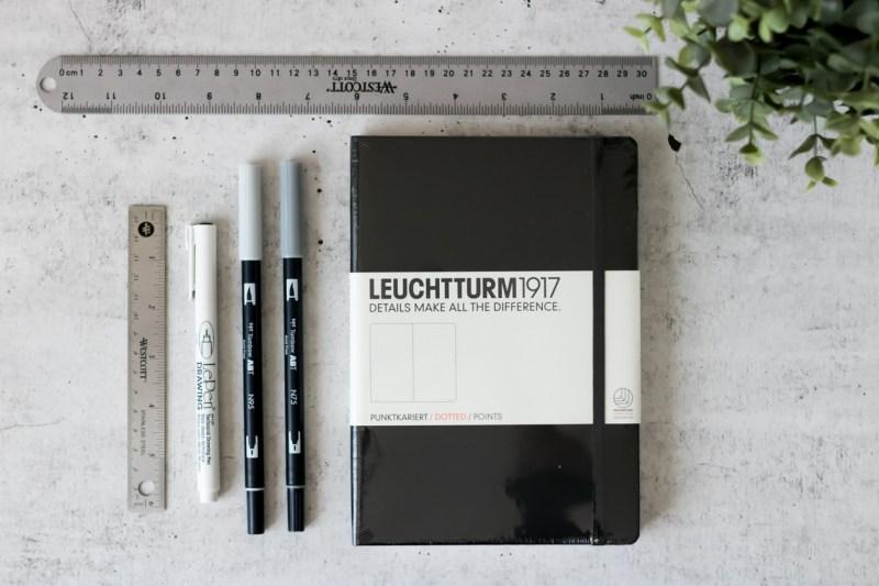 bullet journal supplies leuchtturm1917 dotted tombow abt dual brush pen ruler marvy le pen drawing pen