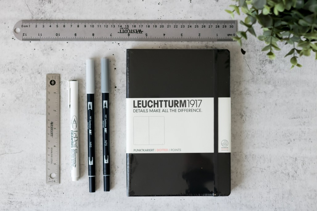 bullet journal supplies leuchtturm1917 dotted tombow abt dual brush pen ruler marvy le pen drawing pen