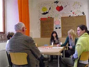 World Cafe Sonnenberg, Dr. Susanne Heydenreich, rechts im Foto.