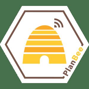 PlanBee Logo Digitalisiertem Bienenstock und Tools für Imker und Gärtner
