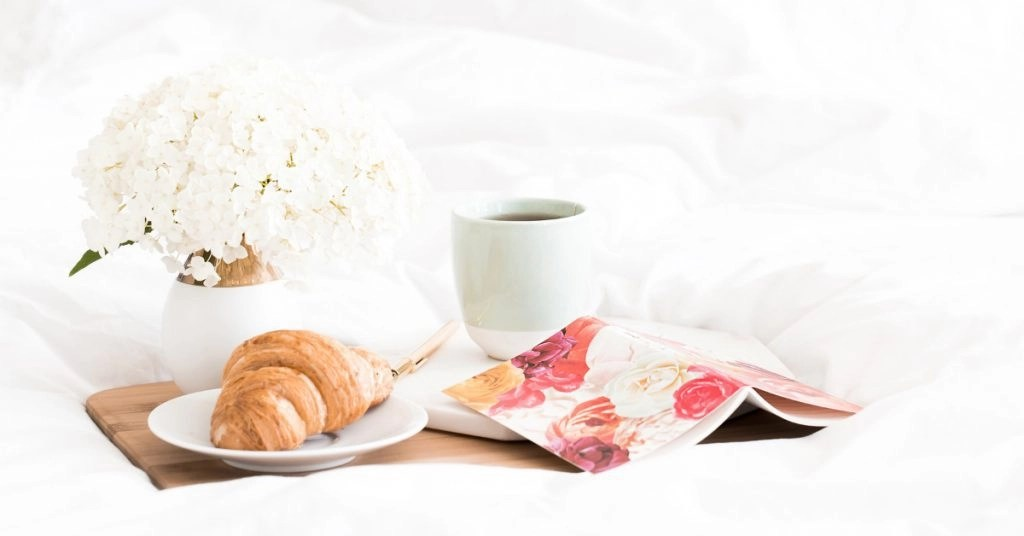 Inspirational Morning Quotes Croissant & Coffee