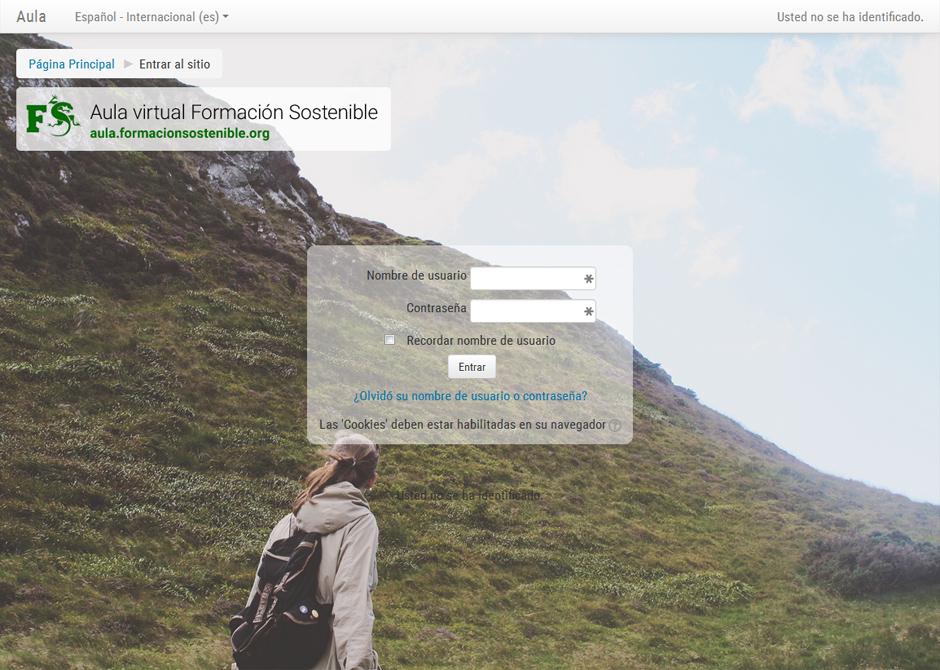 Página de acceso a aula.formacionsostenible.org