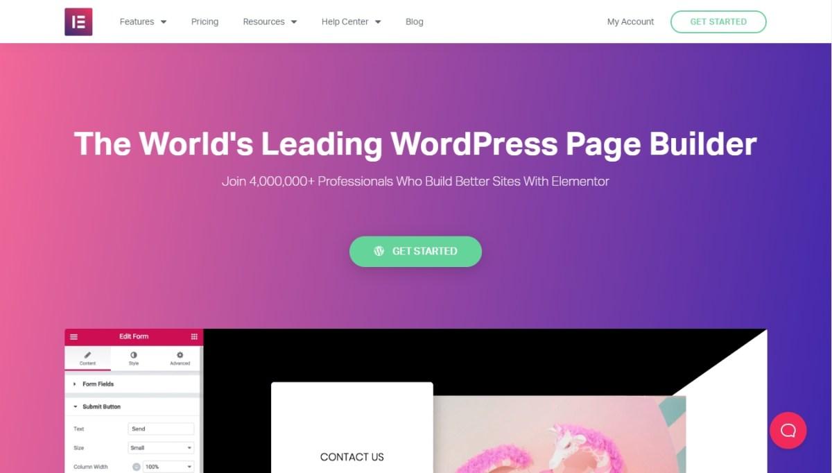 Homepage da Elementor - Construtor de páginas líder mundial