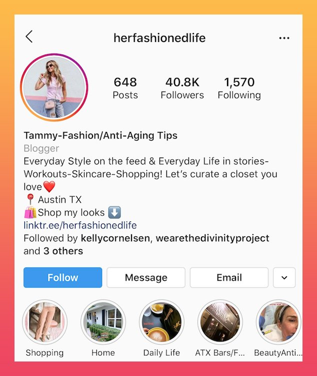 exemplo de biografia do Instagram da moda