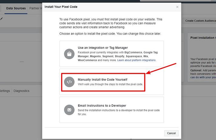 obter código de rastreamento de pixel do Facebook