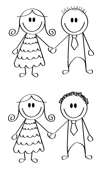 Desenho de noivinhos para convite de casamento