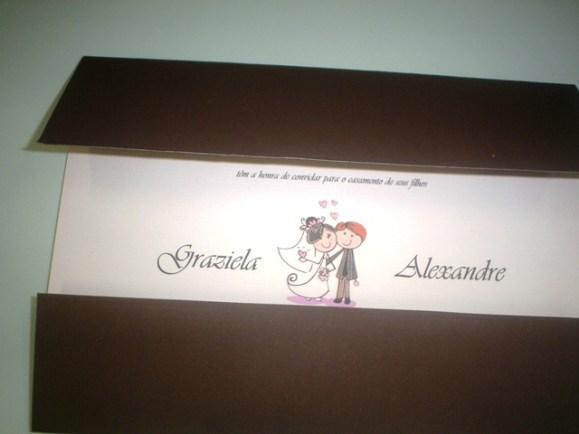 Modelo de convite casamento com noivinhos para download