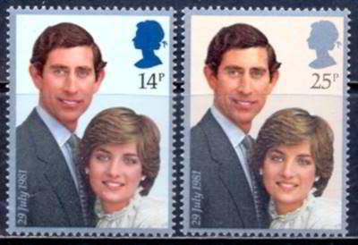 Selo postal britânico: casamento do príncipe Charles com Diana Spencer