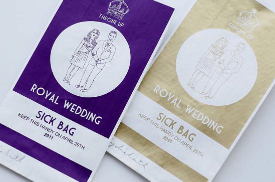 Saquinho de vômito do casamento real